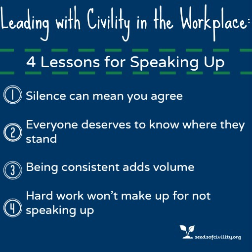 Graphic of Leading with Civility ; 4 Lessons for Speaking Up